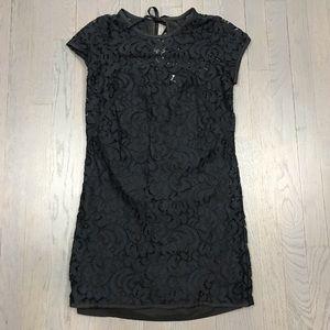 LOFT Petites Navy Lace Short Sleeve Shift Dress